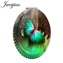JWEIJIAO green clock beautiful Butterfly PU leahter espejo de maquillaje spring Insect DIY photo Oval Hand Mirror for boys JS101(China)