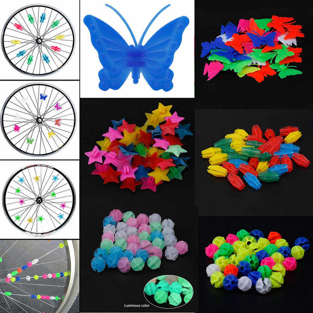25//36Pcs Bicycle Bike Wheel Plastic Spoke Bead Children Kids Clip Colored Decor