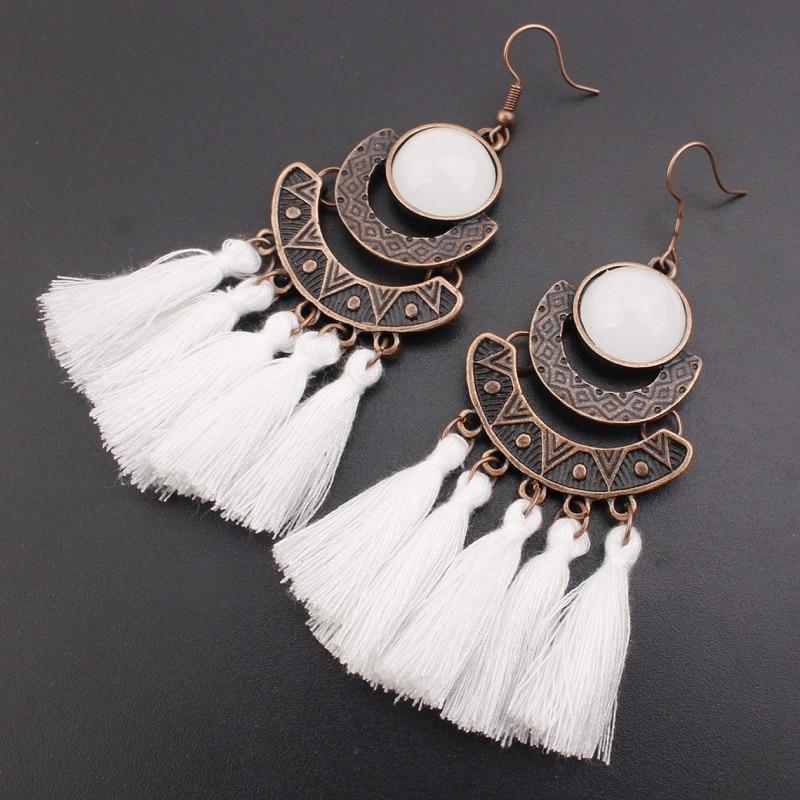 Exknl 25 Colors Tassel Earrings Women Long Fringe Drop Earrings Statement Bohemian Boho Hanging Dangle Earrings Accessories
