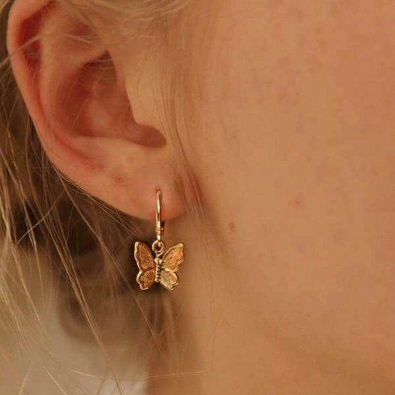 1pair Fashion Bohemian Punk Earrings Jewelry Gold & Silver Color Butterfly Shape Stud Earrings Best Gift For Women Girl E050