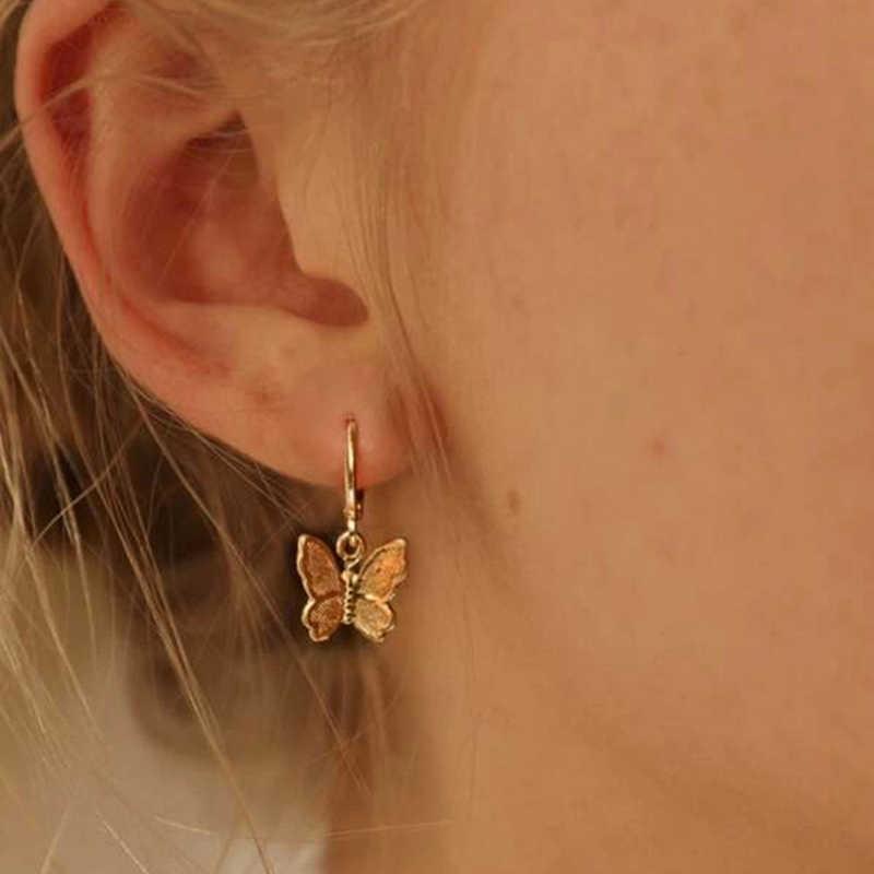 1Pair Women Charm Crystal Rhinestone Enamel Butterfly Stud Earrings Jewelry Gift