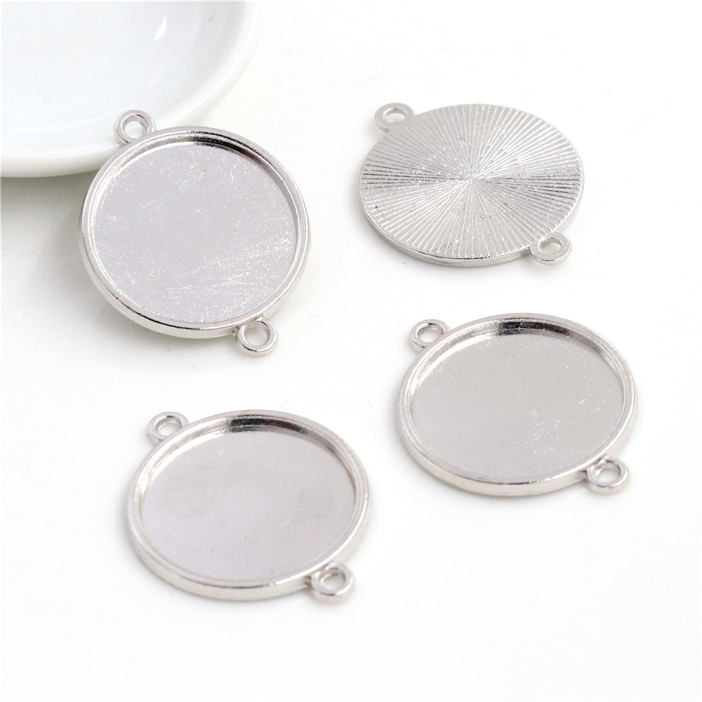 10pcs 20mm Inner Size Rhodium Colors Plated One Sided Double Hanging Simple Style Cabochon Base Bracelet Connector(D7-47)