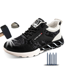 Indestructible Shoes Men Safety Shoes Sport Lightweight Breathable Men Sneakers Steel Toe B