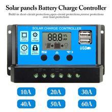 PWM 60A 50A 40A 30A 20A 10A Солнечный контроллер заряда и разряда 12V 24V Авто ЖК-дисплей солнечный регулятор с двумя USB 5V