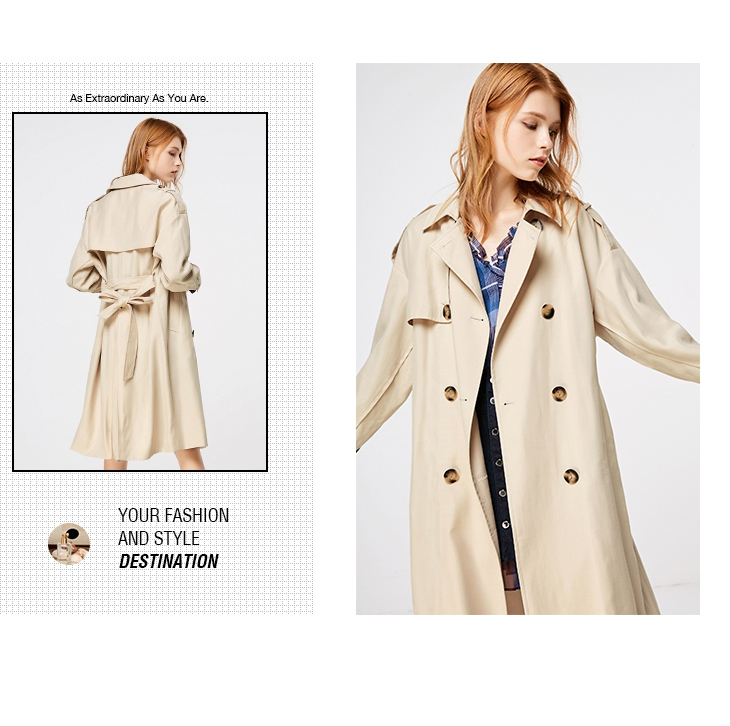 ONLY 19 Women's Loose Fit Long Wind Coat |119136568 13
