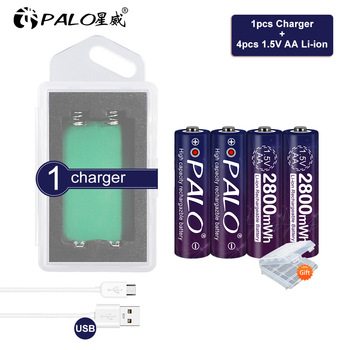 PALO 100% original 2800mWh 1.5V AA Li-ion battery 2A 1.5V lithium li-ion rechargeable battery Bateria batteries for camera toy