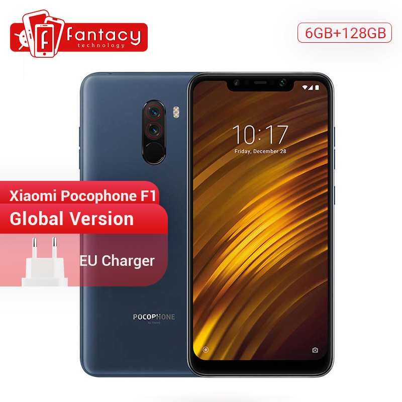 In Stock Global Version Xiaomi Pocophone F1 Phone Poco F1 6GB 128GB Snapdragon 845 Octa Core Liquid Cool 6.18