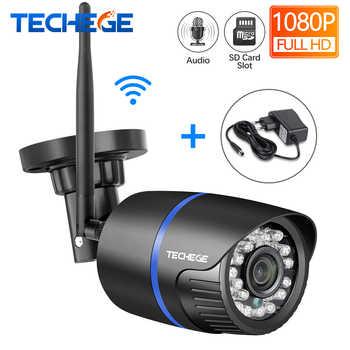 Techege wi fi câmera ip gravação de áudio 1080p hd 2.0mp câmera sem fio ao ar livre onvif visão noturna à prova dwaterproof água cartão tf armazenamento