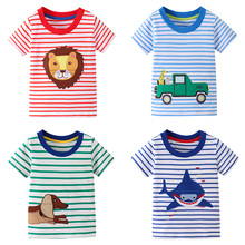 New Children Summer Casual T-shirt Kids Animals Pattern Stripe Cotton Fashion Short Sleeve Clothe for Little Boys 2-7 years fashion easy matched stripe pattern shirt