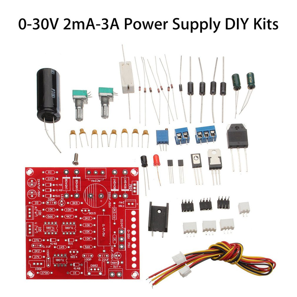0-30V 2mA-3A Adjustable DC Regulated Power Supply DIY Kit Short Circuit Current Limiting Protection Welding Kit