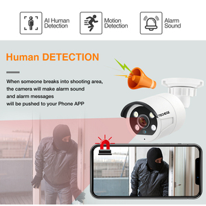 Image 4 - Techege HD 1080P 4CH וידאו מצלמות מערכת שתי דרך אודיו 2MP עמיד למים IP מצלמה דמוי אדם זיהוי 4CH 1080P POE NVR CCTV ערכת