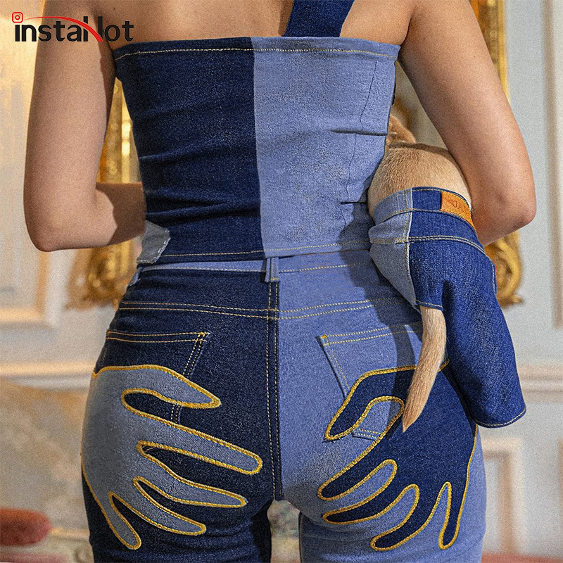 InstaHot Women Flare Jeans Embroidery Trousers Y2K Casual Streetwear Denim Fashion Vintage Female 2021 Sexy Patchwork Pantalones 2