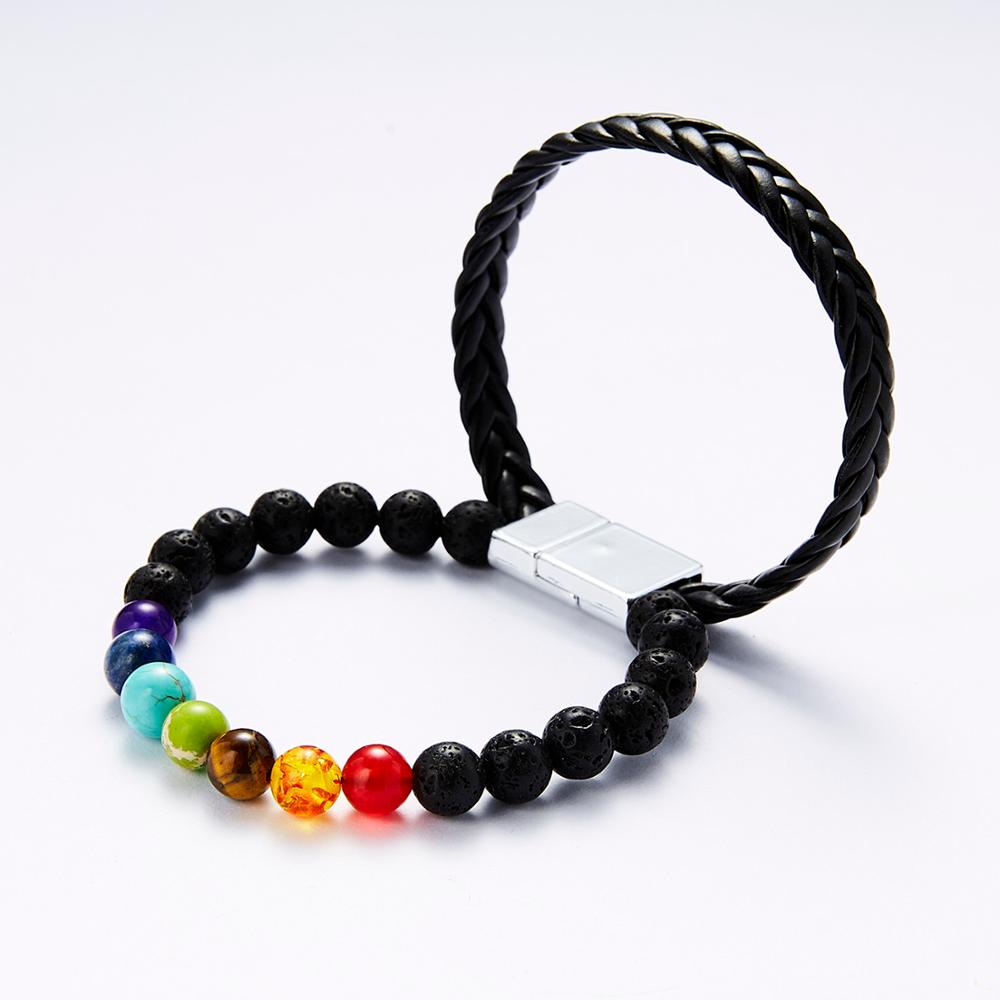 Belleper 7 Chakra Natural Stone Multicolour 8mm Bead Bracelets Magnetic Buckle Leather Bangles Fashion Yoga Healing Jewelry 2019