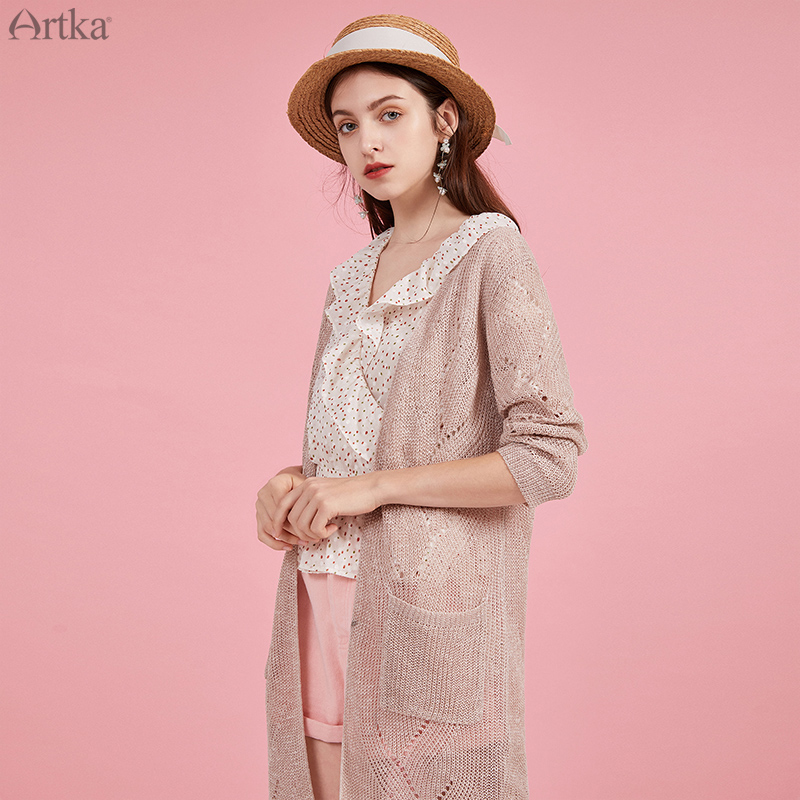 ARTKA 2020 Spring New Women Knitwear Elegant Long Sleeve Thin Knitted Coat V-Neck Loose Hollow Out Long Cardigan Pocket WB20106C