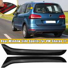 2 sztuk samochodów czarne plastikowe tylne po stronie okna Spoiler skrzydło wargi pokrywa naklejki wykończeniowe nadające się do VW Sharan 2011 2012 2013 2014 2015 2016 17 +
