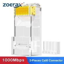 Zoerax 100 pces 2 peças terno rj45 cat6 conectores-3 pinos 8p8c plugues modulares para 23awg trançado par fio & cabos padrão