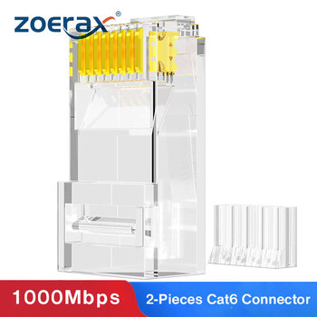 ZoeRax 100PCS 2 Pieces Suit RJ45 Cat6 Connectors - 3 Prong 8P8C Modular Plugs for 23AWG Twisted Pair Wire & Standard Cables