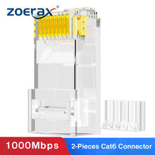 ZoeRax Conectores modulares para conectores RJ45 Cat6, 3 clavijas, 8P8C, 23AWG, Cables trenzados y estándar, 2 piezas