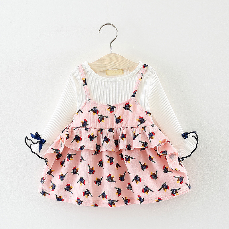 Fashion stitching Baby Girls <font><b>Dresses</b></font> Autumn Long SLEEVE Princess Print <font><b>Dress</b></font> 0-2year Children's Clothes <font><b>Birthday</b></font> Party <font><b>dresses</b></font> image
