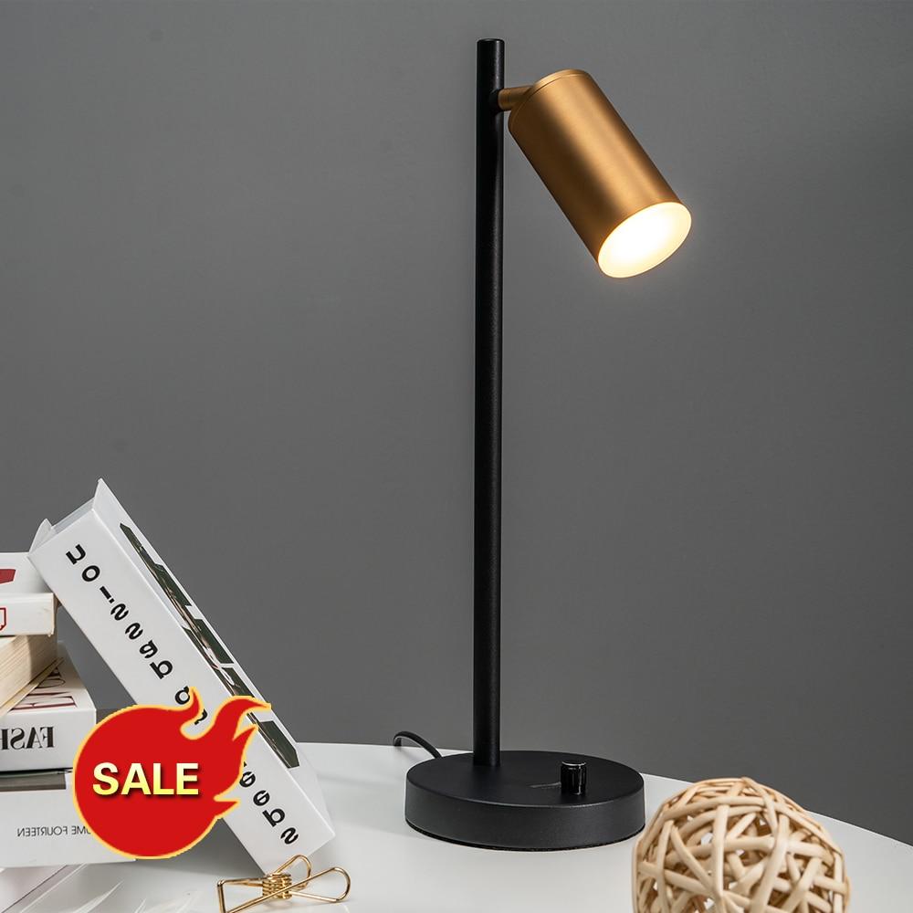 Postmodern Brass Bedroom Table Lamp LED Study Desk Lamp Adjustable GU10 Reading Light Office Lamp Home  Lighting Decor Stores