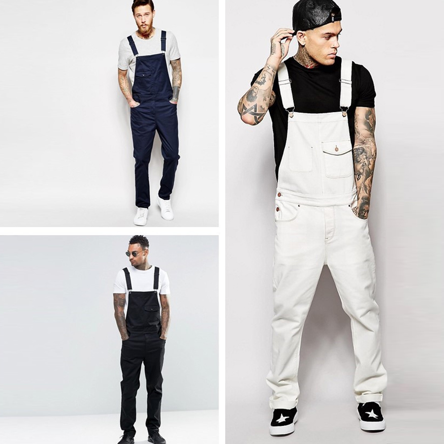 Fashion Mens Long Jumpsuits Pocket Jeans Overall Jumpsuit Streetwear Overall Suspender Plus Size Pants Pantalones Babero