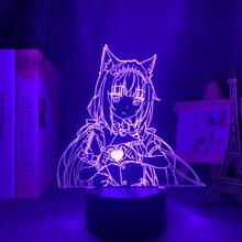 Anime luz led nekopara baunilha para decoração do quarto luz da noite manga quarto presente de aniversário das crianças anime 3d lâmpada nekopara