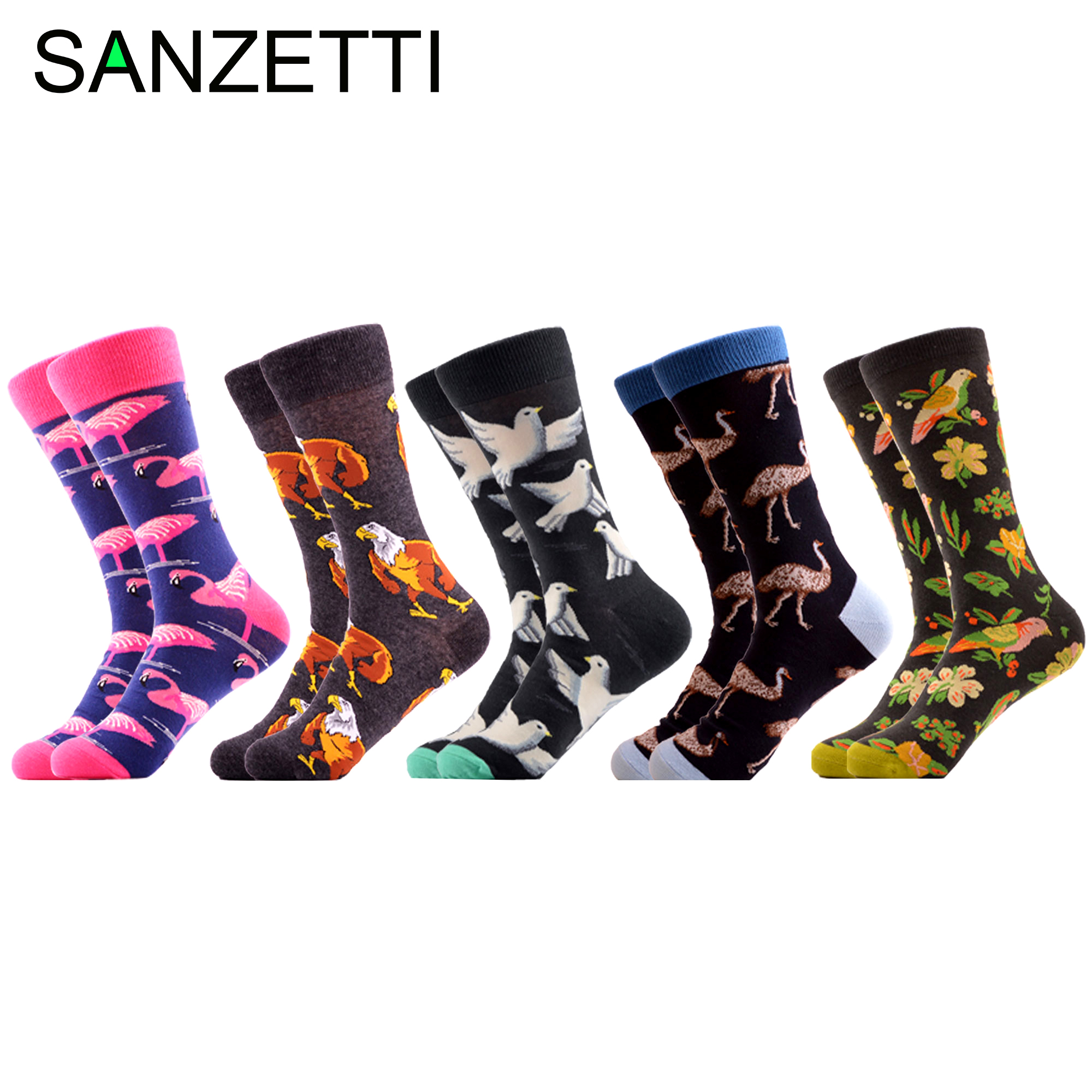 SANZETTI 5 Pairs/Lot 2020 New Happy Men's Causal Socks Bright Colorful Pattern Bird Funny Novelty Dress Socks Gift Wedding Socks