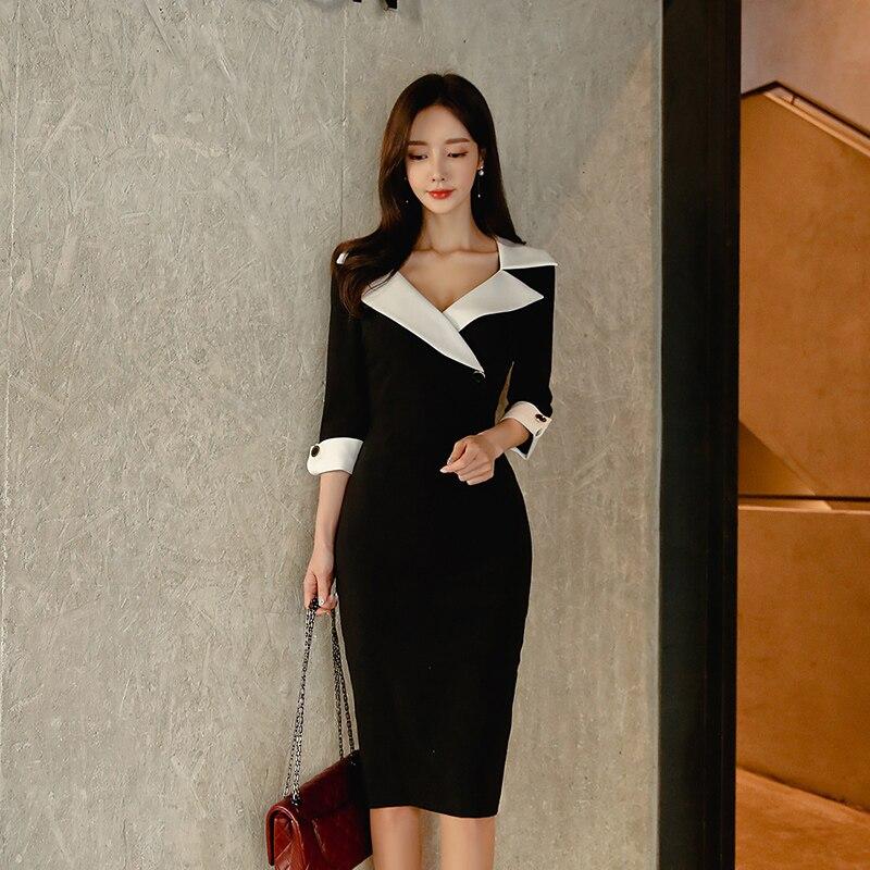 Модное платье, женское весеннее платье, повседневное, офисное, для девушек, элегантное, бизнес, облегающее, одежда для работы, платье, Vestidos, о...