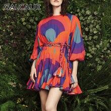 Женское Повседневное платье с принтом galcaur разноцветное круглым