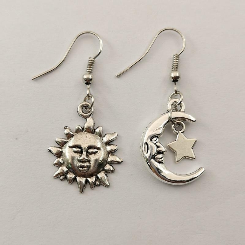 CUTE MISMATCH SUN MOON AND STAR SP Drop Earrings CELESTIAL Tibetan Silver Gift