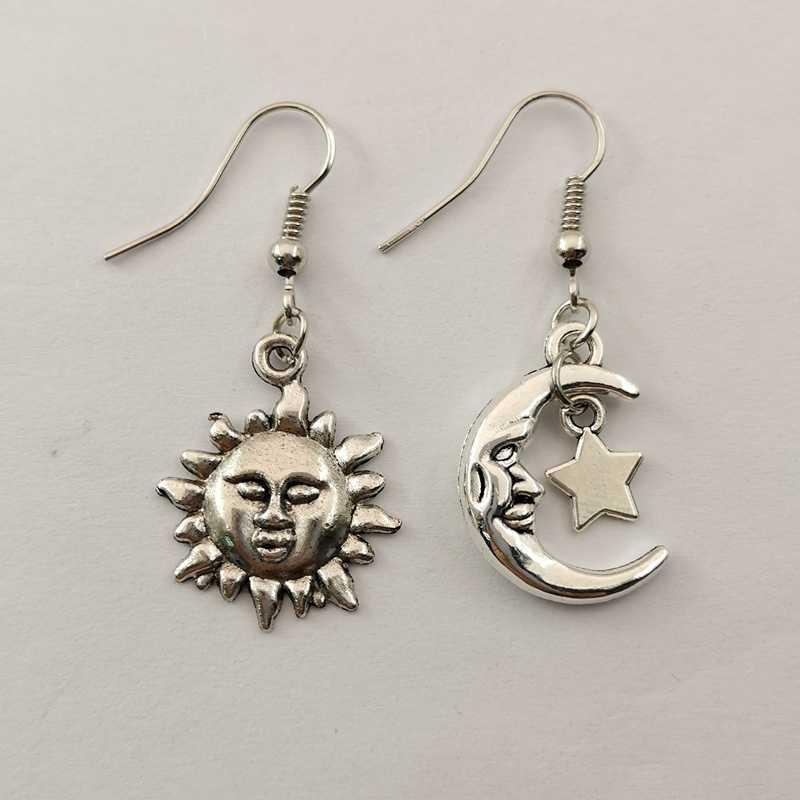 Boucles d'oreilles en argent tibétain céleste, Wicca, païen, croissant de lune