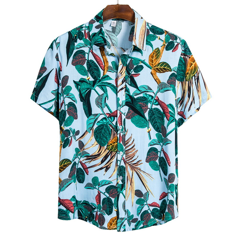 Adisputent 2020 Summer Mens Shirts Hawaiian Fashion Print Loose Short Sleeve Buttons Shirts Male Casual Beach Wear Hawaiian Tops