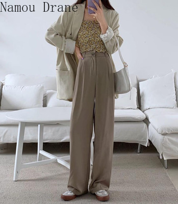 High Waist Wide Leg Pants Capris Women Buttons Fly Solid Loose Office Casual Female Suit Pants Trousers Femme 2020