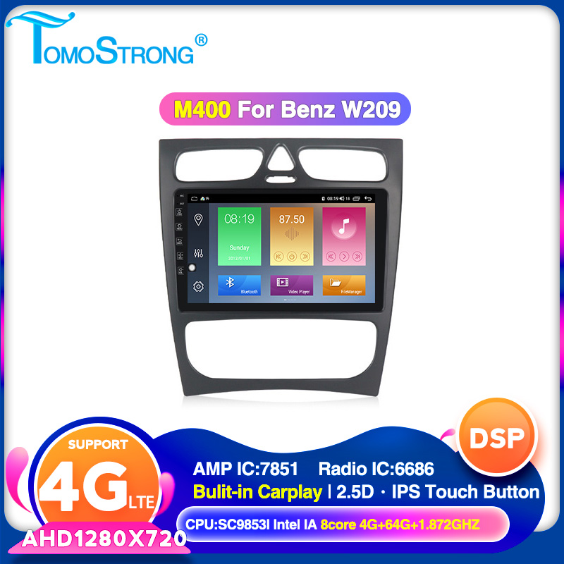 TOMOSTRONG IPS DSP <font><b>Car</b></font> <font><b>radio</b></font> multimedia player For <font><b>Mercedes</b></font> Benz CLK W209 W203 W463 <font><b>W208</b></font> support 4G LTE Carplay 2.5D <font><b>screen</b></font> image