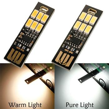 Pocket Card Lamp Bulb 6Led Keychain Mini LED Night Light Portable USB Power