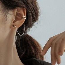 Ear Cuff Clip Chain Tassel Clip on Earring Cross Earrings For Women Korea Jewelry
