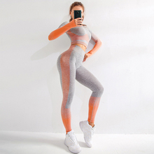 SALSPOR Seamless 2Pcs Female Yoga Set Long Sleeve Fitness Tops High Waist Push Up Sport Leggings Seamless Sport Suit Gym Clothes