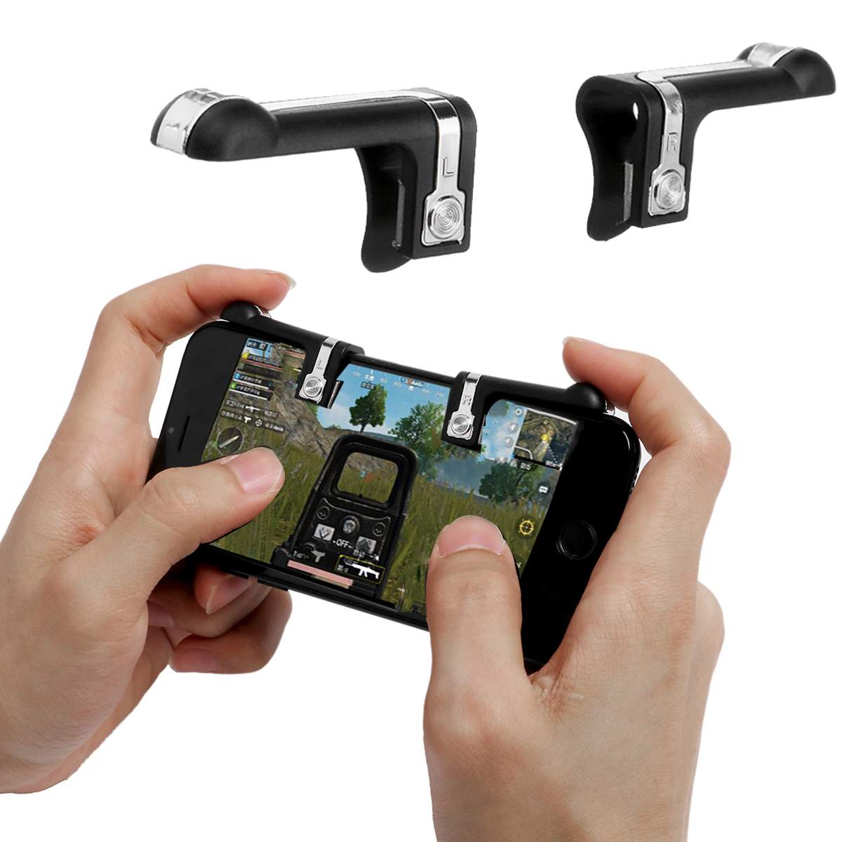 Metal Phone Gamepad Game Controller <font><b>Shooter</b></font> Mobile Gaming Aiming Key Button L1R1 <font><b>Shooter</b></font> Trigger for Smartphone image