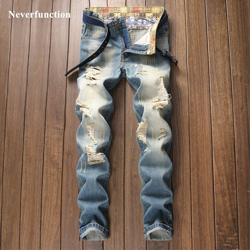 New Men Streetwear Ripped Vintage Casual Straight Jeans Male Hip Hop Cotton Destroyed Holes Slim Joggers Beggar Denim Pants