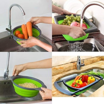 New Foldable Colander Strainer Set Foldable Strainer over the sink Vegetable / Fruit Kitchen Strainer Tea Strainer with pull-out фото