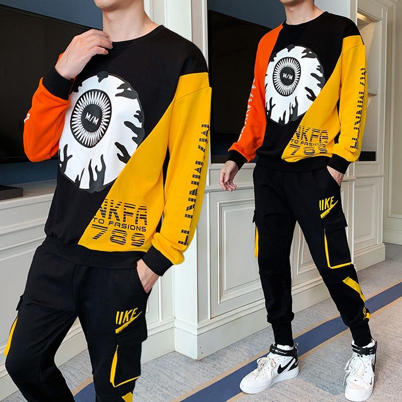 Hip Hop Hooded Jacket+Pants 2PC Sets Tracksuit Men Sportswear Sport Suit 2020 Spring Casual Sweatshirt + Sweatpants Moda Hombre