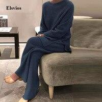 Traje para casa de mujer liso para otoño e invierno, conjunto de dos piezas para mujeres, jersey de cuello redondo informal, Tops + Pantalones de punto, pijama para casa