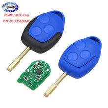 3 кнопки дистанционный ключ-брелок от машины 433 МГц 4D63 чип для Ford Transit WM VM 2006-2014 P/N: 6C1T15K601AG-черный или синий головка