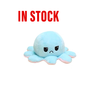 Emotion Flip Octopus Plush Toy Stuffed Angry Flip Happy Toys Soft Cute Double-Sided Colorful Animal Doll Popular Children Gifts image