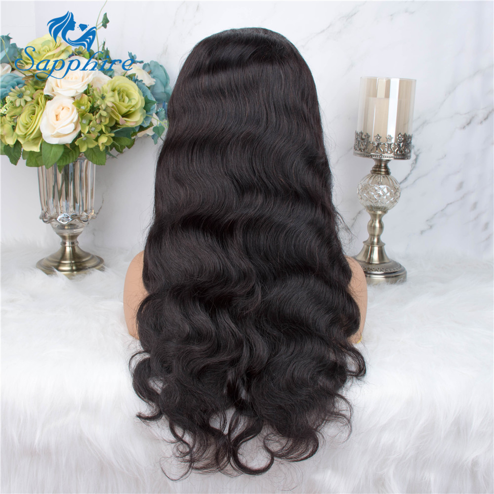 H521966e187c849ac8ac8aafd2fa4449bf Sapphire Brazilian Remy Human Hair Wigs 4X4 Pre Plucked Brazilian Body Wave Lace Closure Wigs With Baby Hair For Black Women