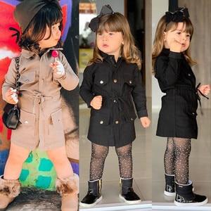 2109 de Inverno Da Criança Do Bebê Dos Miúdos Meninas de Manga Longa Trench Coat Jaqueta Corta-vento Outwear Parka À Prova de Vento roupa infantil Outono Nova