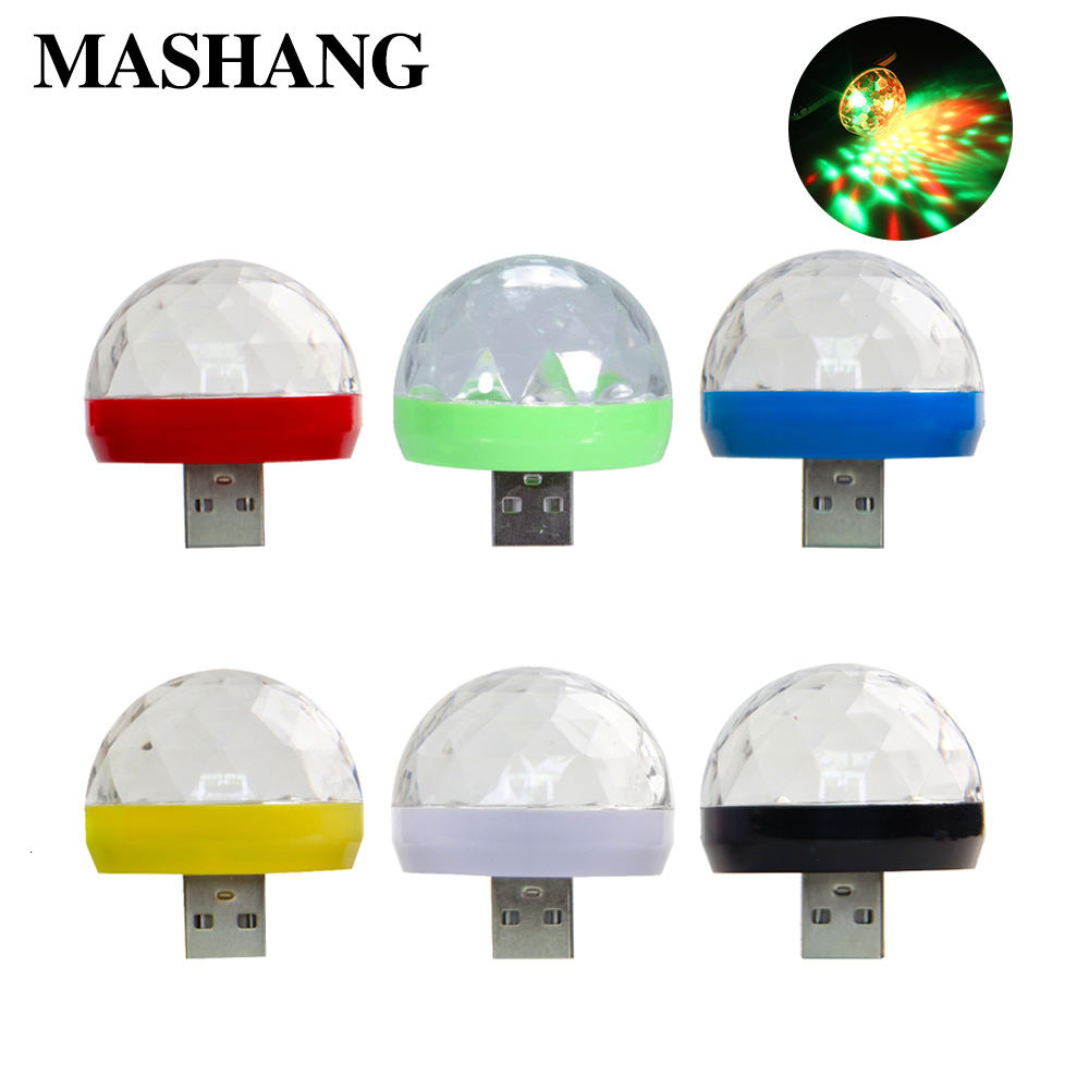 LED Magic Ball Usb Light Mini Disco Stage Effect Lamp Sound Control RGB Portable Projector USB Crystal Lamp For Mobile Phone