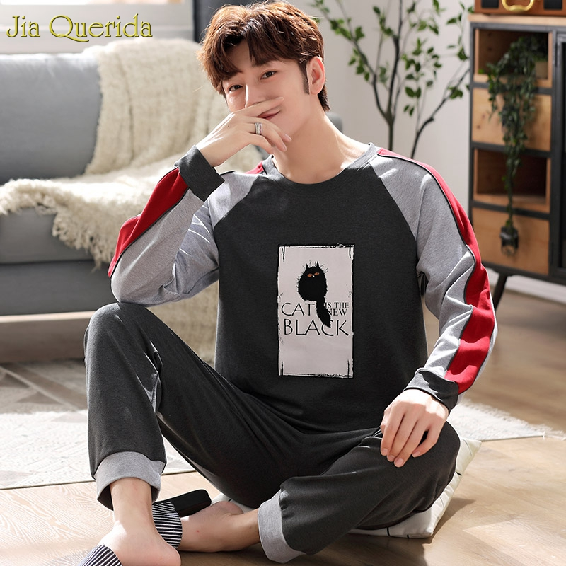 Pijama Man Set 100% Cotton Men Sleepwear Big Size Pajamas 3xl 4xl 5xl Sporty Style Men Pijama Black Cat Printing Mens Home Wear