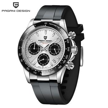 2020 New PAGANI DESIGN Luxury Brand Mens Sports Watches Waterproof Chronograph Japan VK63 Quartz Movement Watch Rubber Strap - Silver White