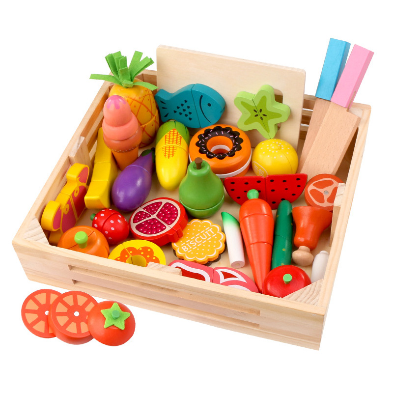 Children Wooden <font><b>Kitchen</b></font> <font><b>Toys</b></font> Pretend Play <font><b>Kitchen</b></font> <font><b>Set</b></font> Cutting Magnetic Fruit Vegetable Food Play House Educational <font><b>Toys</b></font> Gifts image